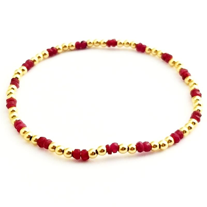 Ruby Glacé Collection - Semi Precious Rubies & 3mm Shiny Gold-Fill Beaded Bracelet (2/3 pattern)
