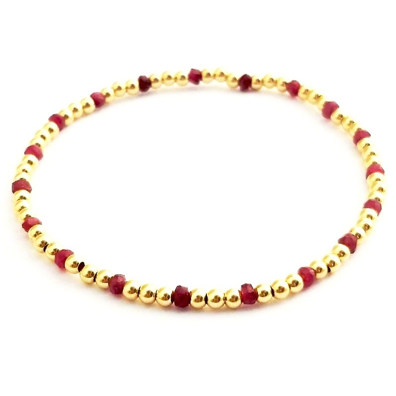 Ruby Glacé Collection Semi Precious Ruby & 3mm Shiny Gold-Fill Beaded Bracelet