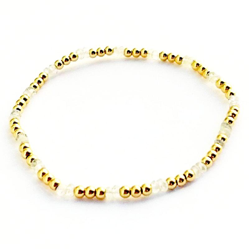Moonstone Glacé Collection-Moonstone & 2.5mm Shiny Gold-Filled Beaded Bracelet