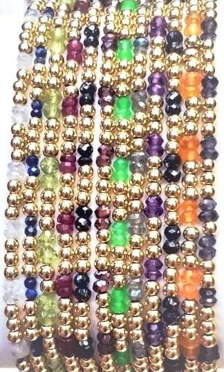 Semi-Precious Gemstone & 2.5mm Shiny Beaded Bracelet (2/3 Pattern)