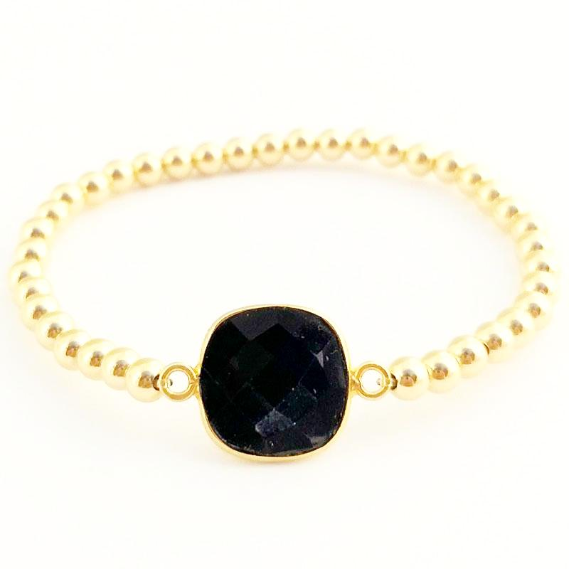 Semi Precious Square Gemstone & 4mm Shiny Beaded Bracelet
