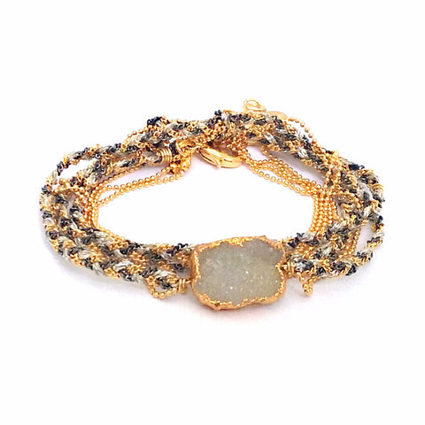 Ultra Suede Square Stone Wrap in Citrine