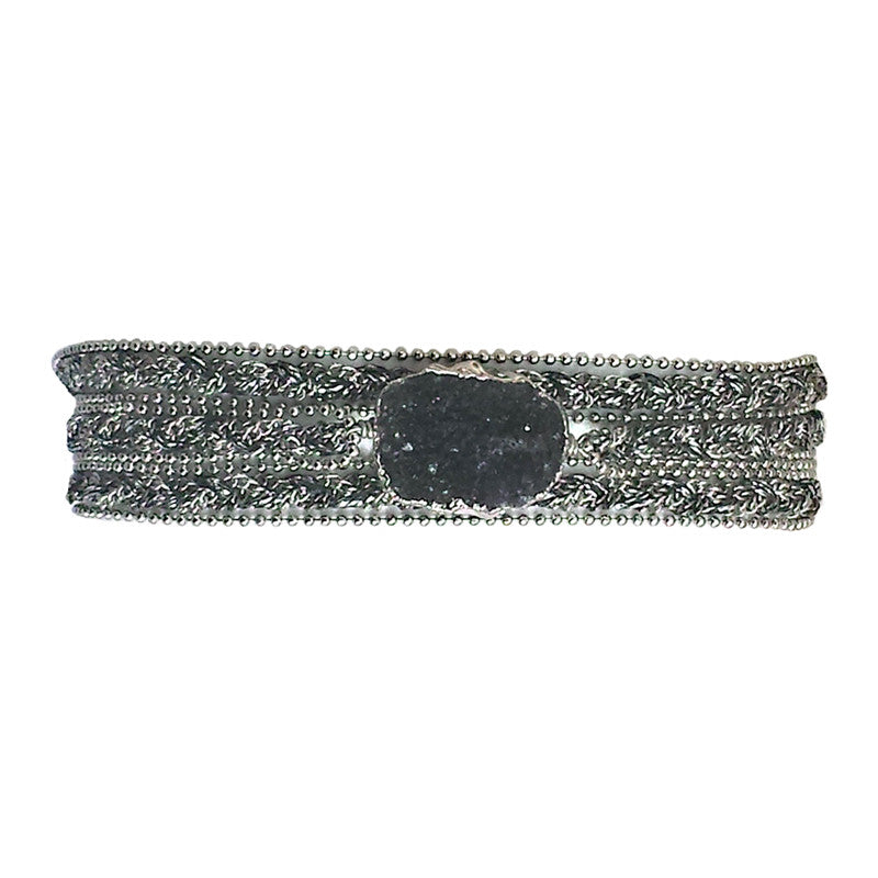 Black druzy in silver frame with braided chain & metallic yarn