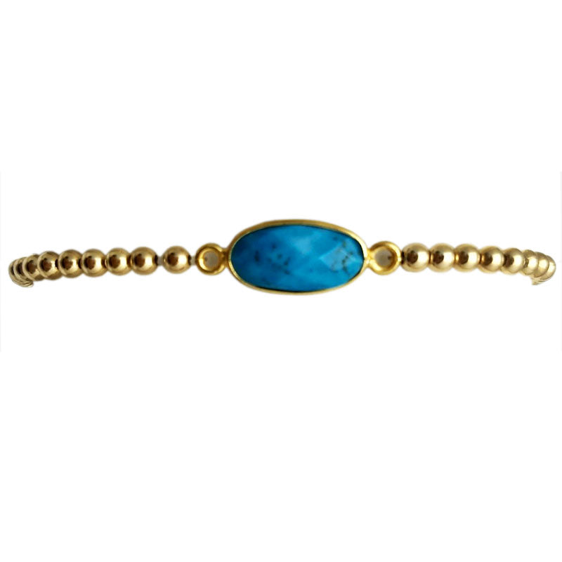 Semi-Precious Oval Gemstone & Shiny Gold-Fill Beaded Bracelet
