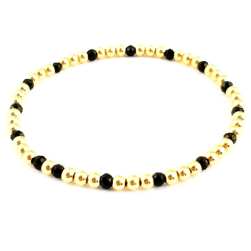 Black Onyx Glacé Collection- Semi Precious Black Onyx & 3mm Shiny Gold-Fill Beaded Bracelet