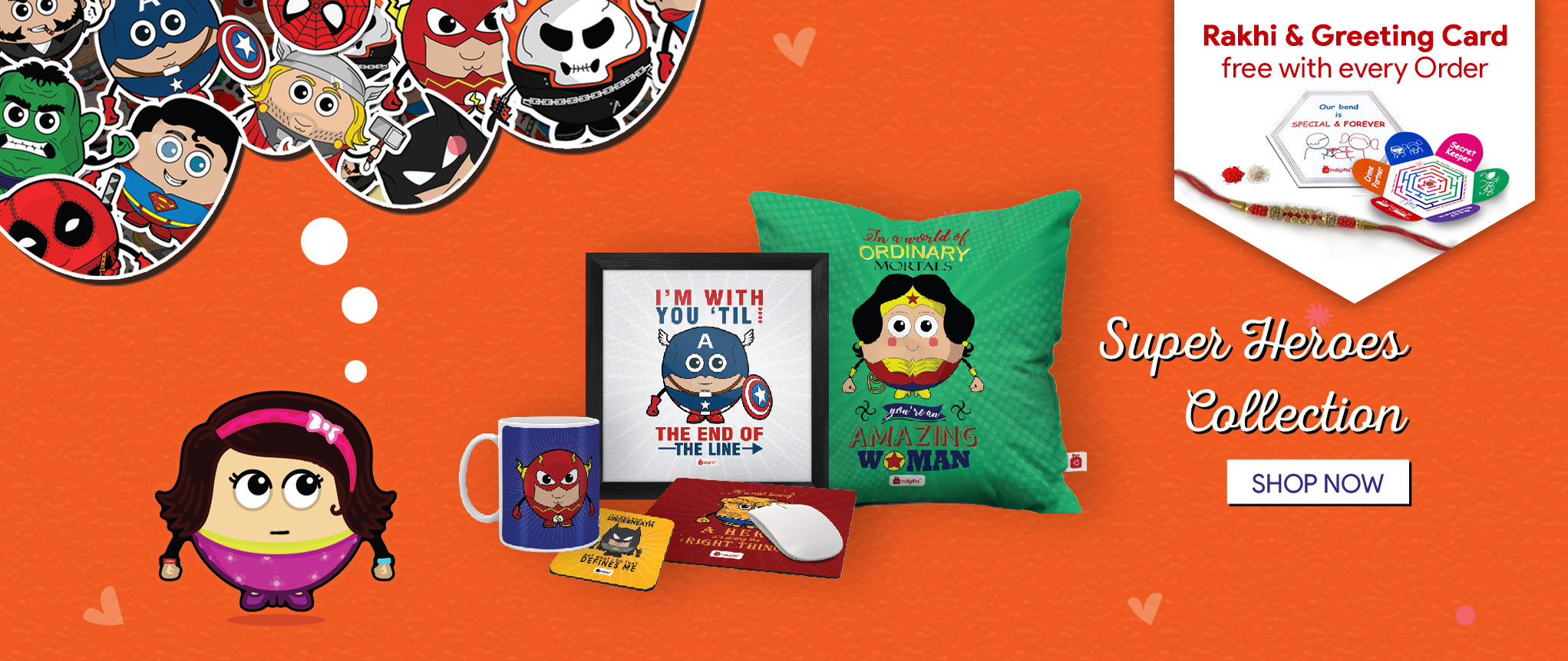 Gifts for Sibling, Rakhi Special. Superheroes designer Gifts