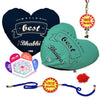 World'S Best Bhaiya & Bhabhi 2 Heart Cushion with Bhaiya Bhabhi Embroidery Rakhi Set