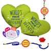 Awesome Bhaiya & Bhabhi 2 Heart Cushion with Bhaiya Bhabhi Embroidery Rakhi Set