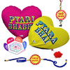 Pyara Bhai & Bhabhi 2 Heart Cushion with Bhaiya Bhabhi Embroidery Rakhi Set