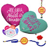 All You Need Is Bhai & Bhabhi 2 Heart Cushion with Bhaiya Bhabhi Embroidery Rakhi Set
