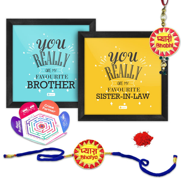 Favourite Brother And Sister In Law Poster Frame with Handcrafted Bhai and Bhabhi Rakhi
