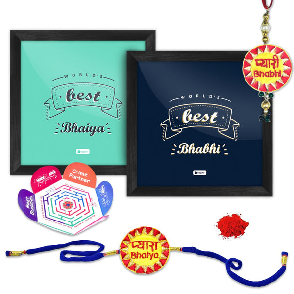 Indigifts World's Best Bhaiya & Bhabhi Poster Frame with Brother and Sister in law embroidery Rakhi