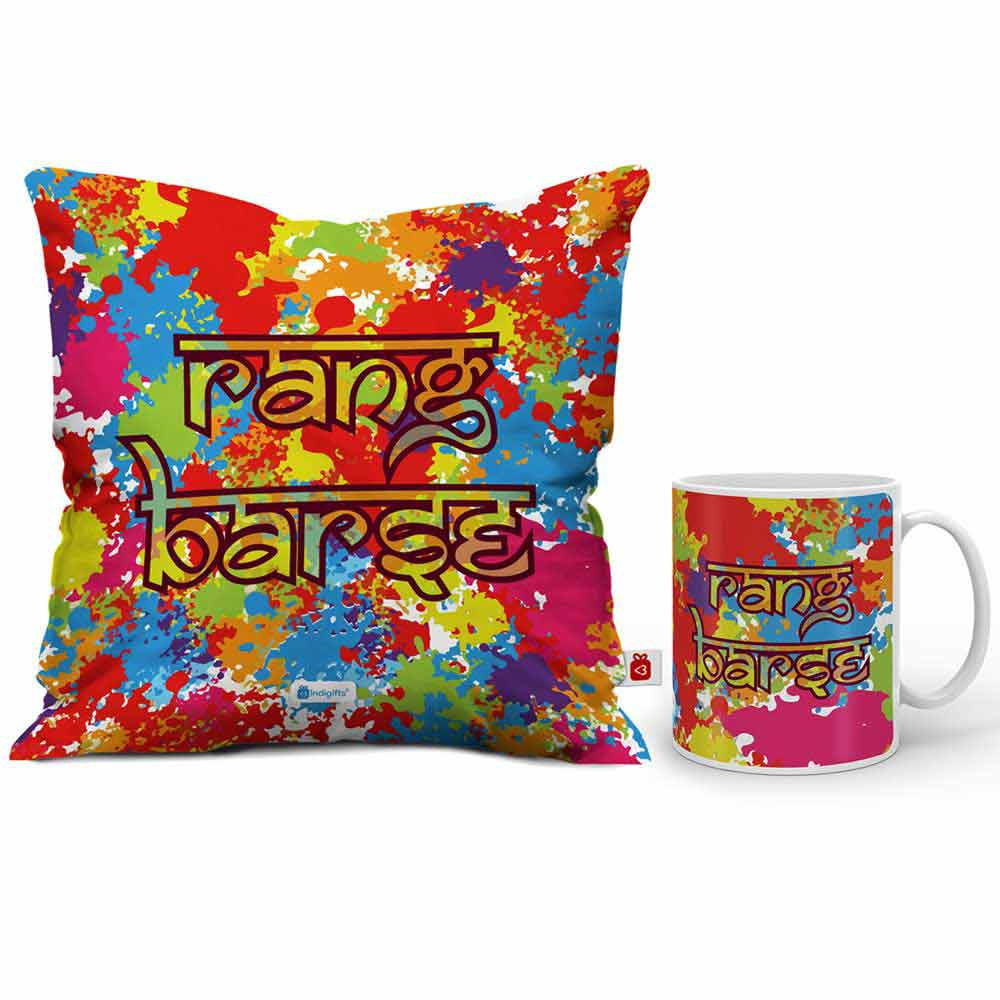 Indigifts Rang Barse Cushion Cover And Coffee Mug Combo