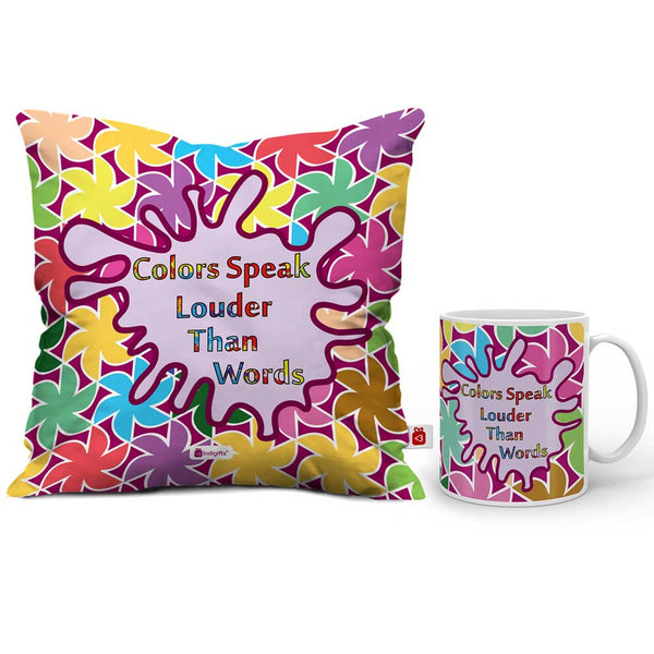 Colors Speak Louder Than Words Cushion Cover And Coffee Mug Combo  Indigifts - With Love Coffee Mug + Cushion Cover With Filler