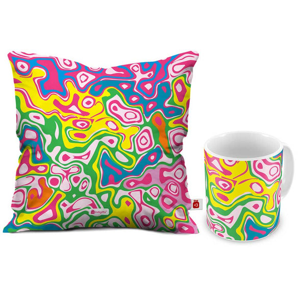 Joy of Colours Cushion Cover And Coffee Mug Combo