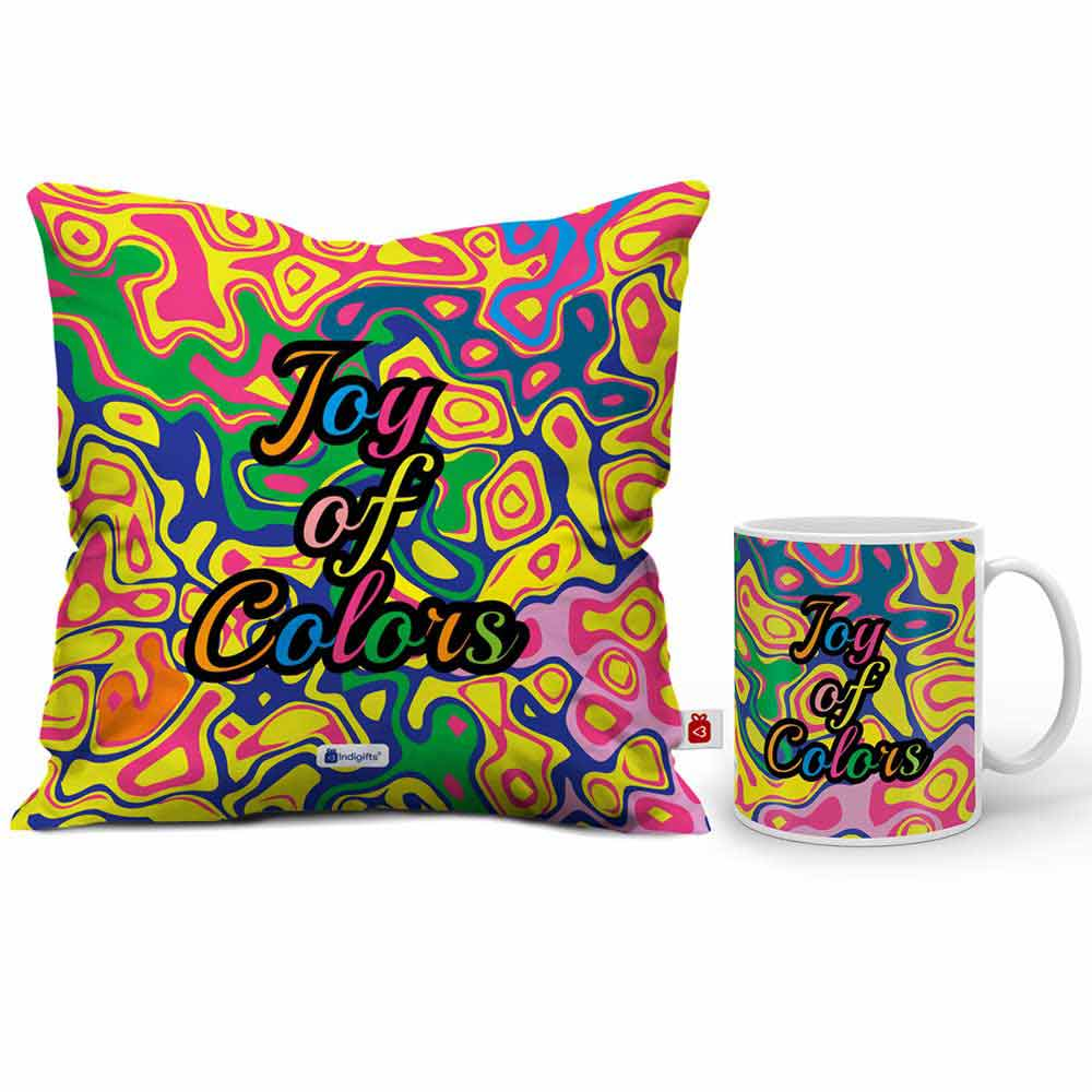 Indigifts Colourful Abstract wavy bubble pattern Cushion Cover And Coffee Mug Combo
