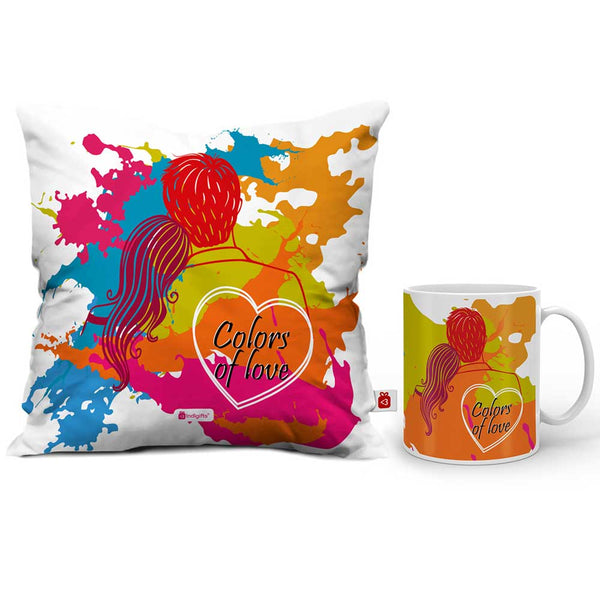 Colors of Love Cushion Cover And Coffee Mug Combo  Indigifts - With Love Coffee Mug + Cushion Cover With Filler