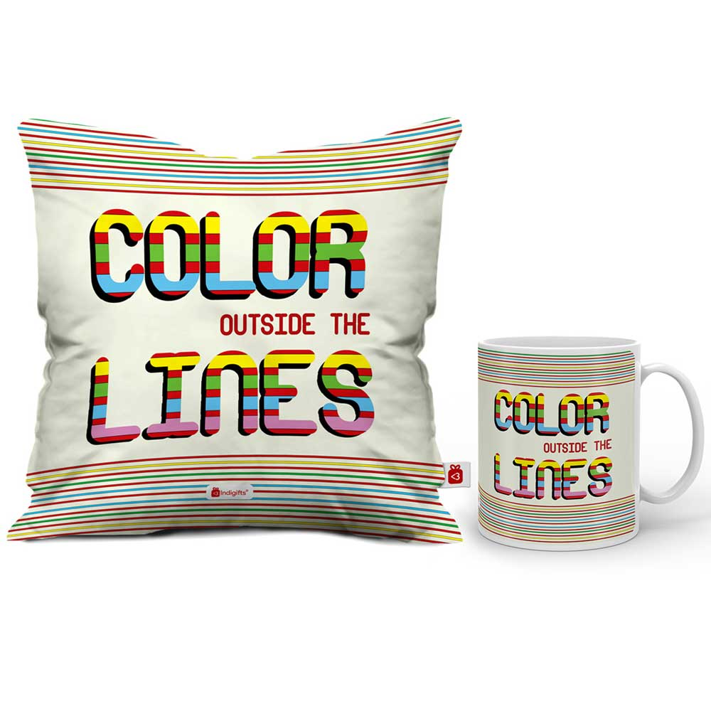 Color Outside The Lines Cushion Cover And Coffee Mug Combo  Indigifts - With Love Coffee Mug + Cushion Cover With Filler