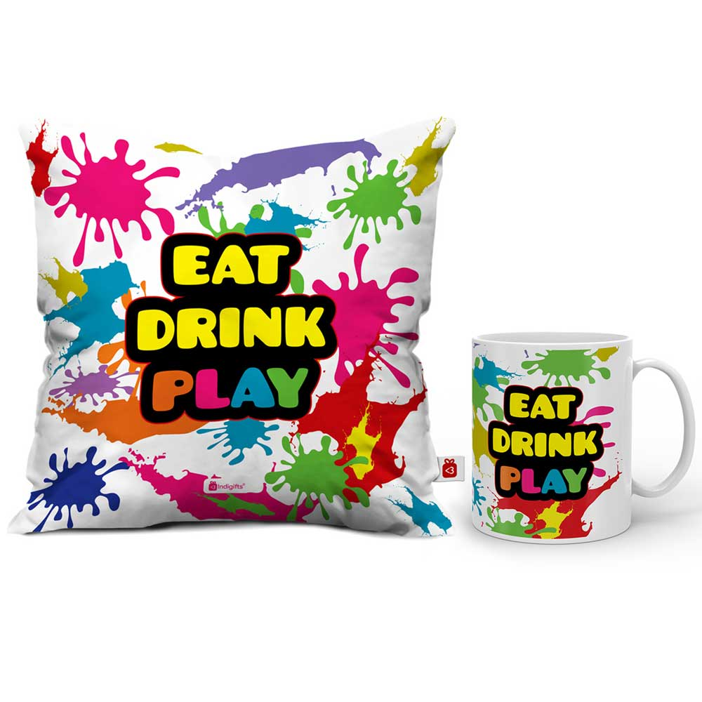Indigifts Eat Drink Play Cushion Cover And Coffee Mug Combo