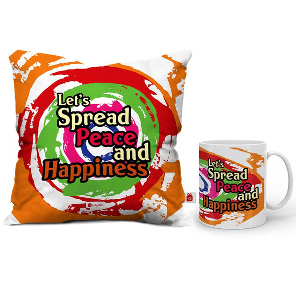 Let's Spread Peace and Happiness Cushion Cover And Coffee Mug Combo