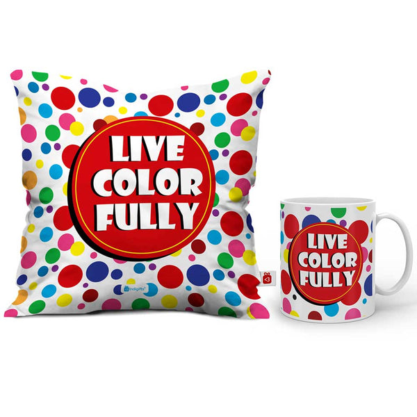 Live Color Fully Cushion Cover And Coffee Mug Combo