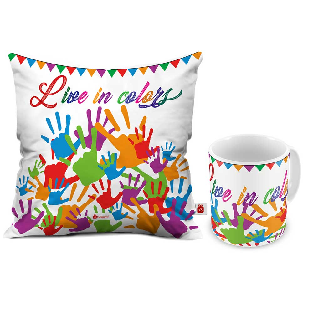 Indigifts Live in Colors Cushion Cover And Coffee Mug Combo