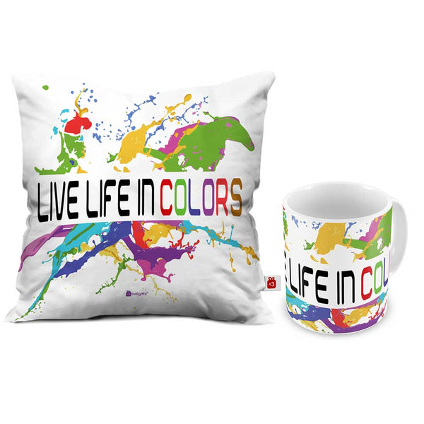 Live Life In Colors Cushion Cover And Coffee Mug Combo