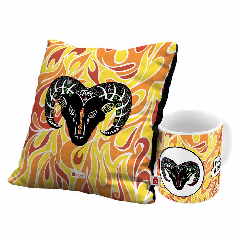 Indigifts Aries Zodiac Multi Coffee Mug and Cushion Cover 12x12 with Filler Combo