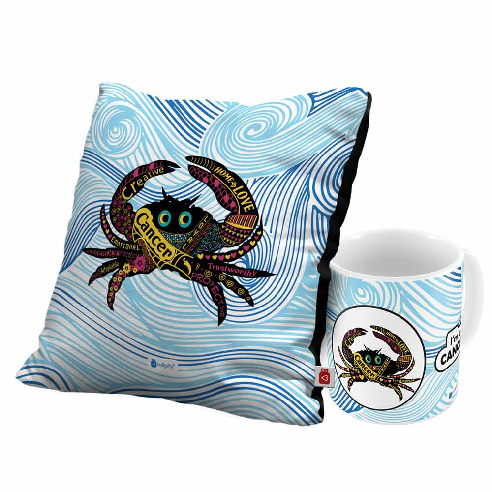 Indigifts Cancer Zodiac Blue Coffee Mug and Cushion Cover 12x12 with Filler Combo