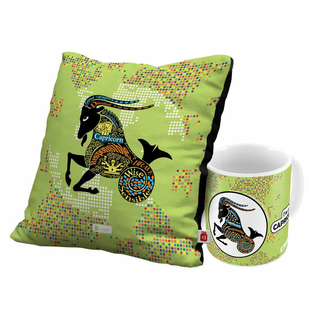Capricorn Zodiac Green Coffee Mug and Cushion Cover 12x12 with Filler Combo - Indigifts - With Love