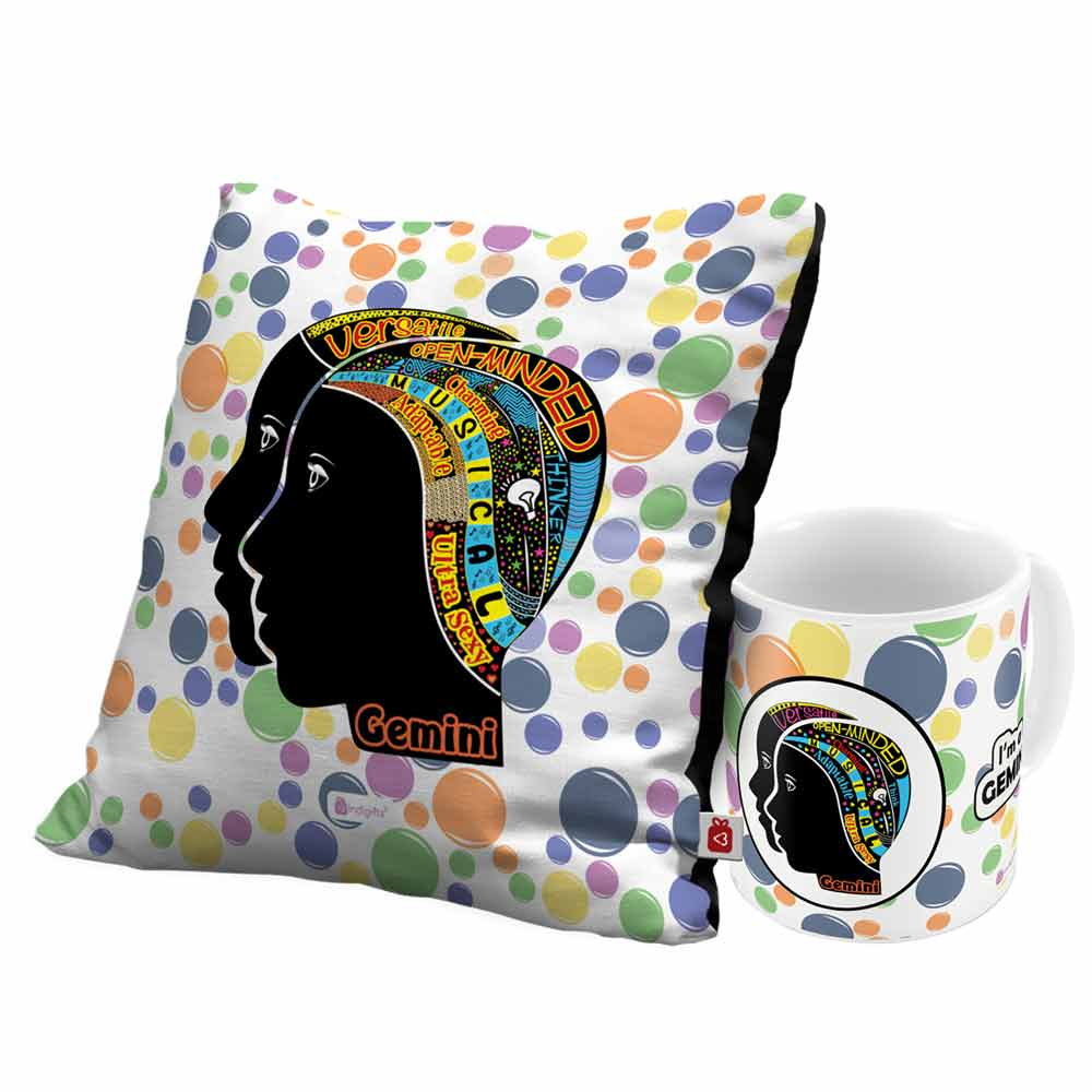 Indigifts Gemini Zodiac White Coffee Mug and Cushion Cover 12x12 with Filler Combo