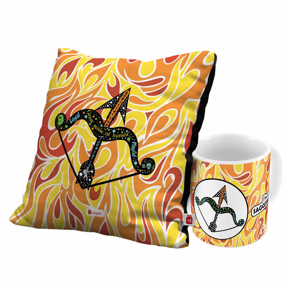 Indigifts Sagittarius Zodiac Multi Coffee Mug and Cushion Cover 12x12 with Filler Combo