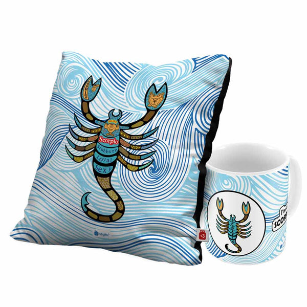 Scorpio Zodiac Blue Coffee Mug and Cushion Cover 12x12 with Filler Combo