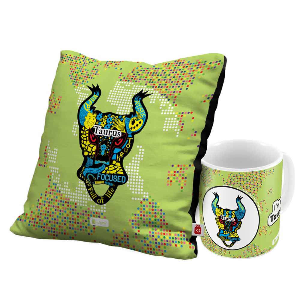 Taurus Zodiac Green Coffee Mug and Cushion Cover 12x12 with Filler Combo