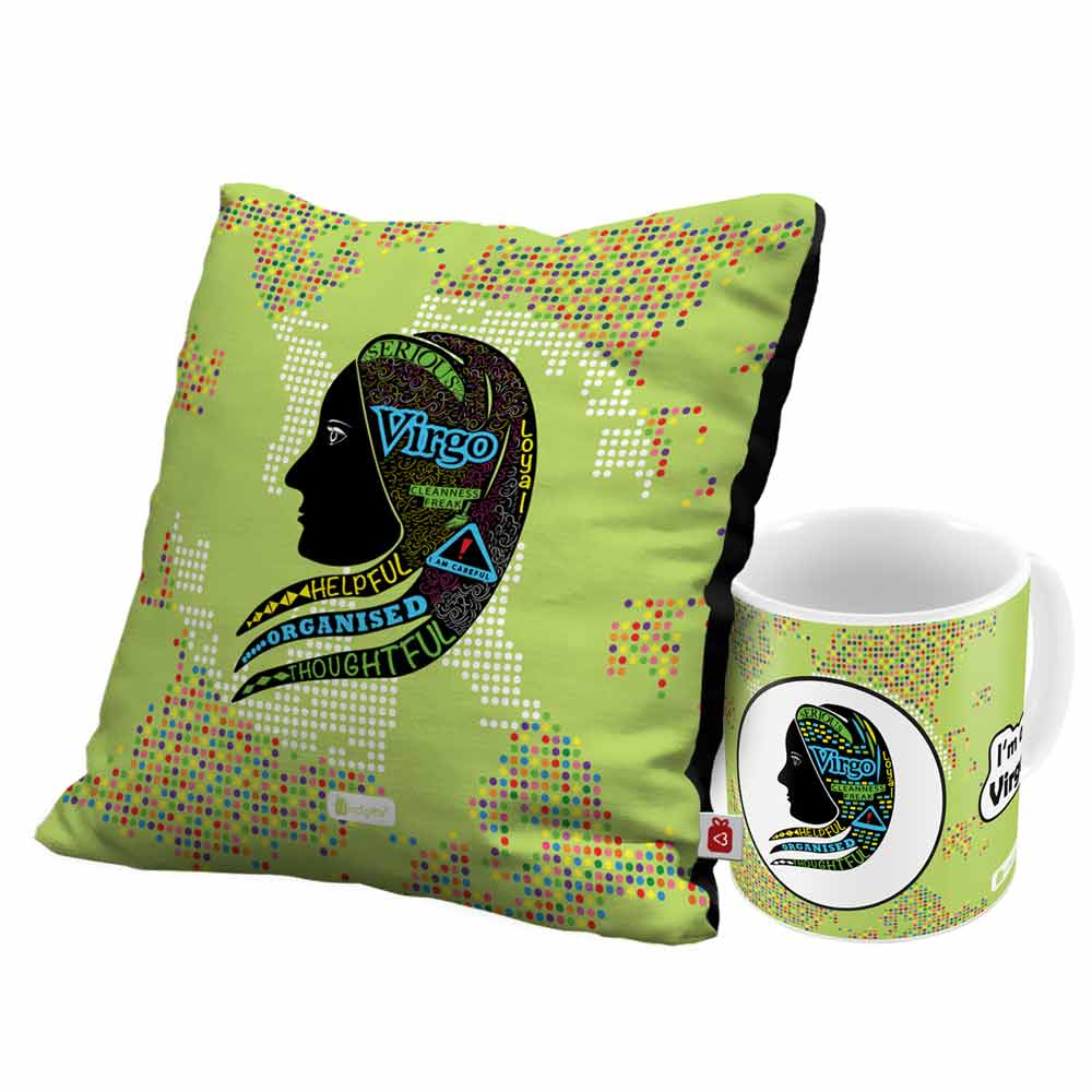 Virgo Zodiac Green Coffee Mug and Cushion Cover 12x12 with Filler Combo