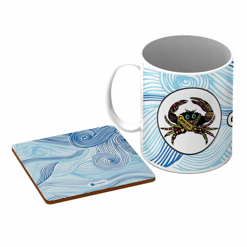 Cancer Zodiac Blue Coffee Mug + Coaster - Indigifts - With Love
