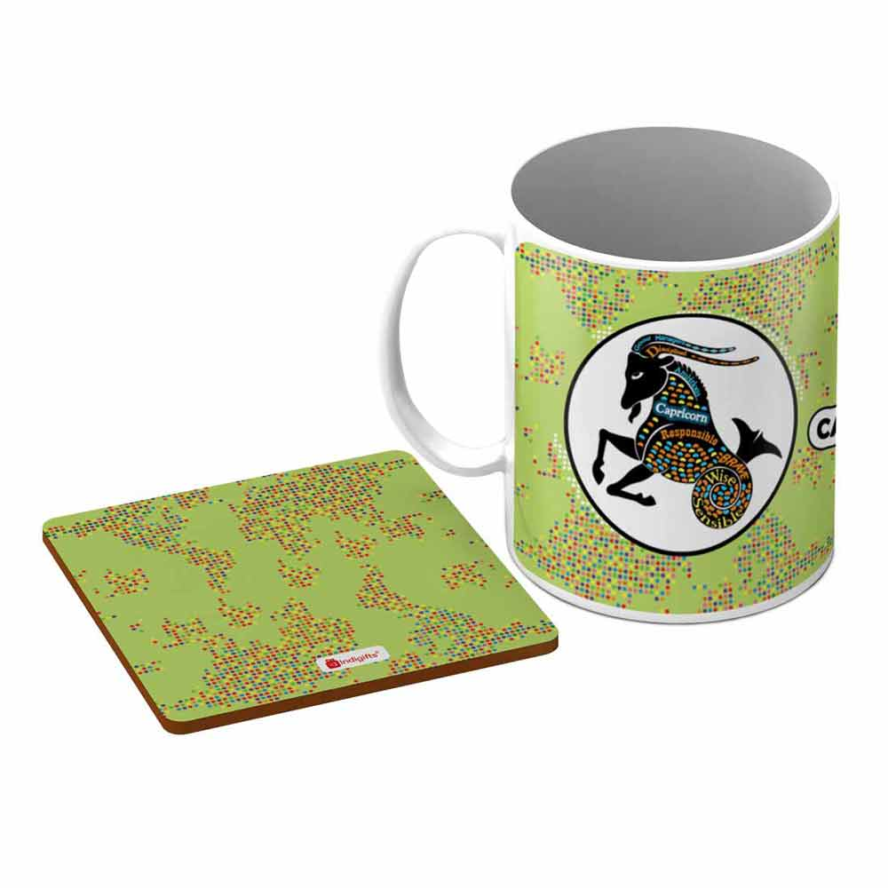 Capricorn Zodiac Green Coffee Mug + Coaster - Indigifts - With Love
