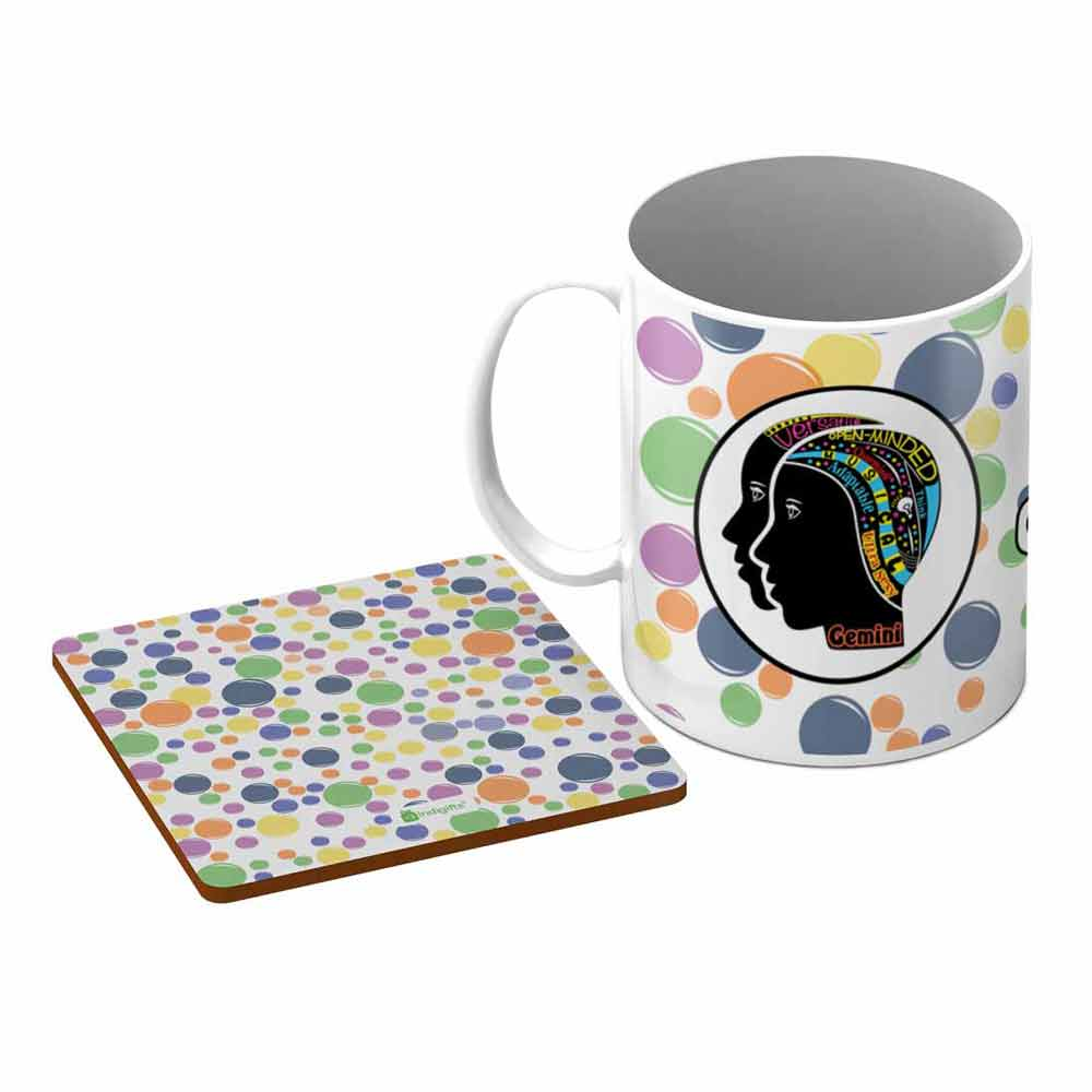 Gemini Zodiac White Coffee Mug + Coaster