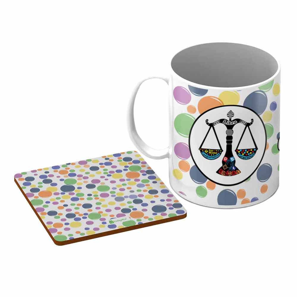 Indigifts Libra Zodiac White Coffee Mug + Coaster