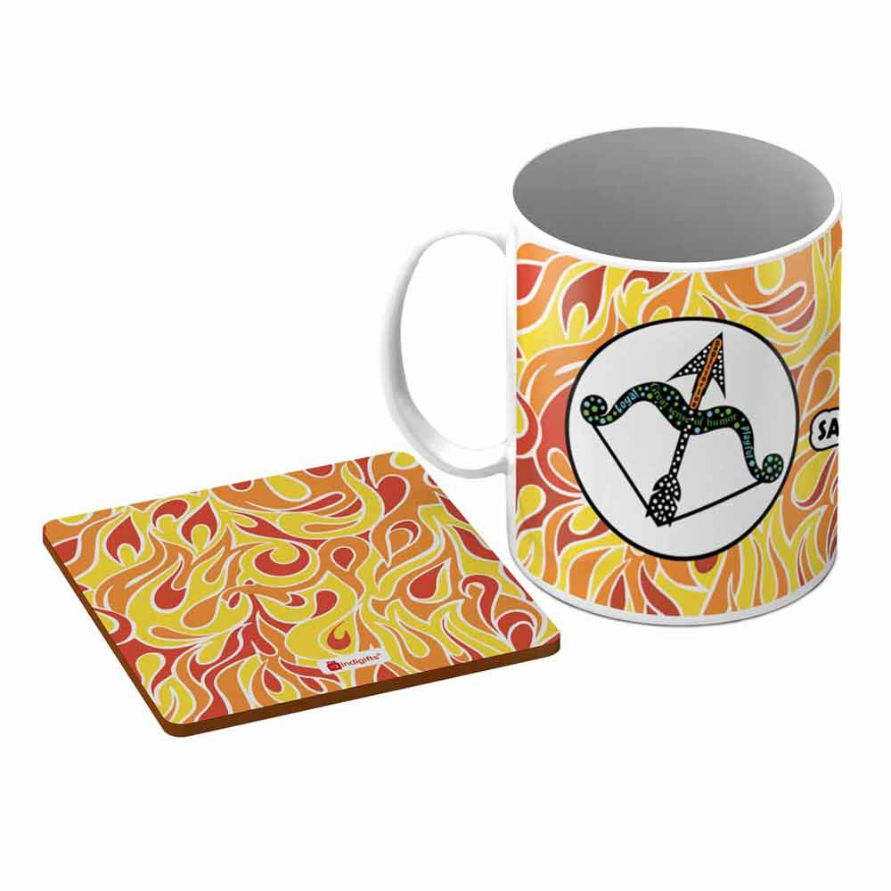 Indigifts Sagittarius Zodiac Multicolor Coffee Mug + Coaster