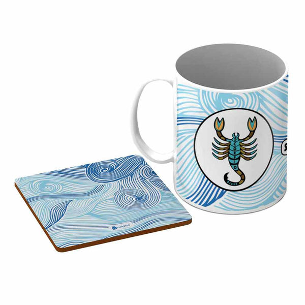 Scorpio Zodiac Blue Coffee Mug + Coaster
