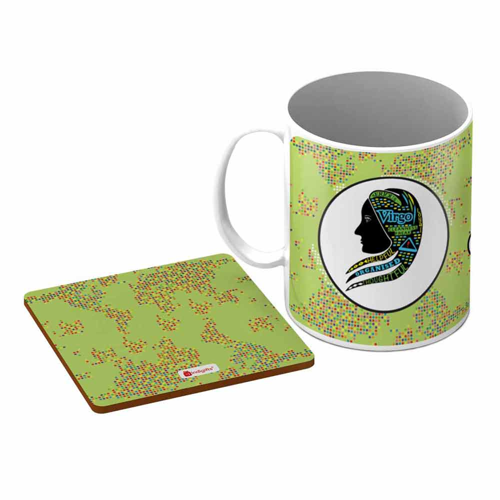 Virgo Zodiac Green Coffee Mug + Coaster