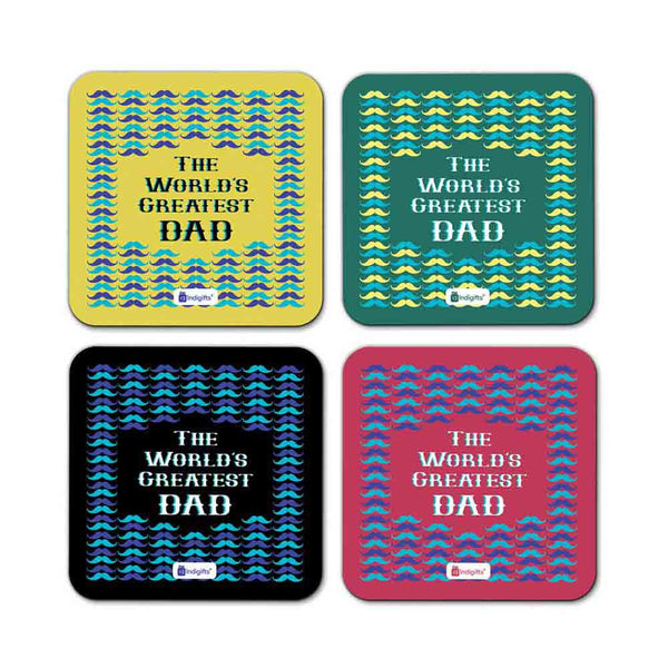 World's Greatest Dad Quote Seamless Pattern with Moustache Multicolor Coasters