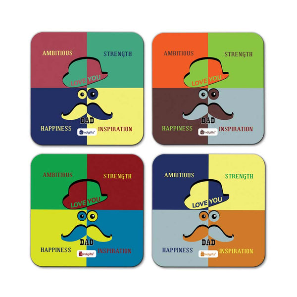 Talented Dad Quote Retro Pattern Multicolor Coasters