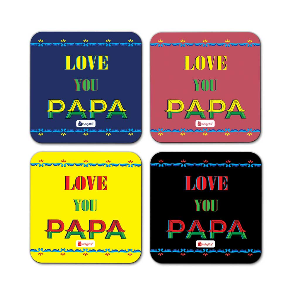 Indigifts Love You Papa Quote Indiana Artwork Multicolor Coasters