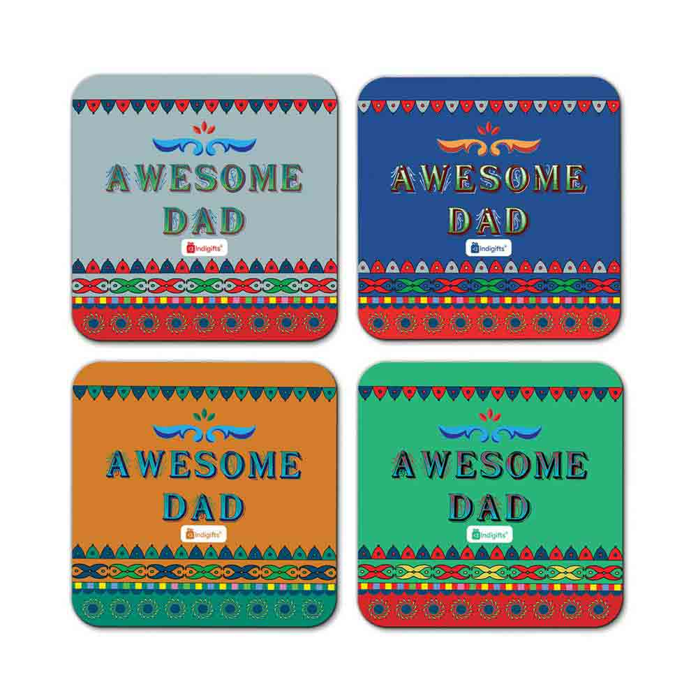 Awesome Dad Quote Folk Art Print Multicolor Coasters