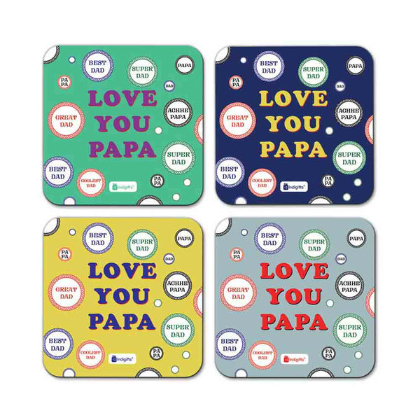 Love You Papa Quote Bubble Pattern Multicolor Coasters
