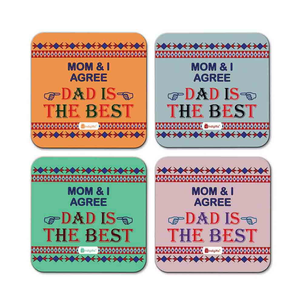 Dad is the Best Quote Vintage Shapes Pattern Multicolor Coasters