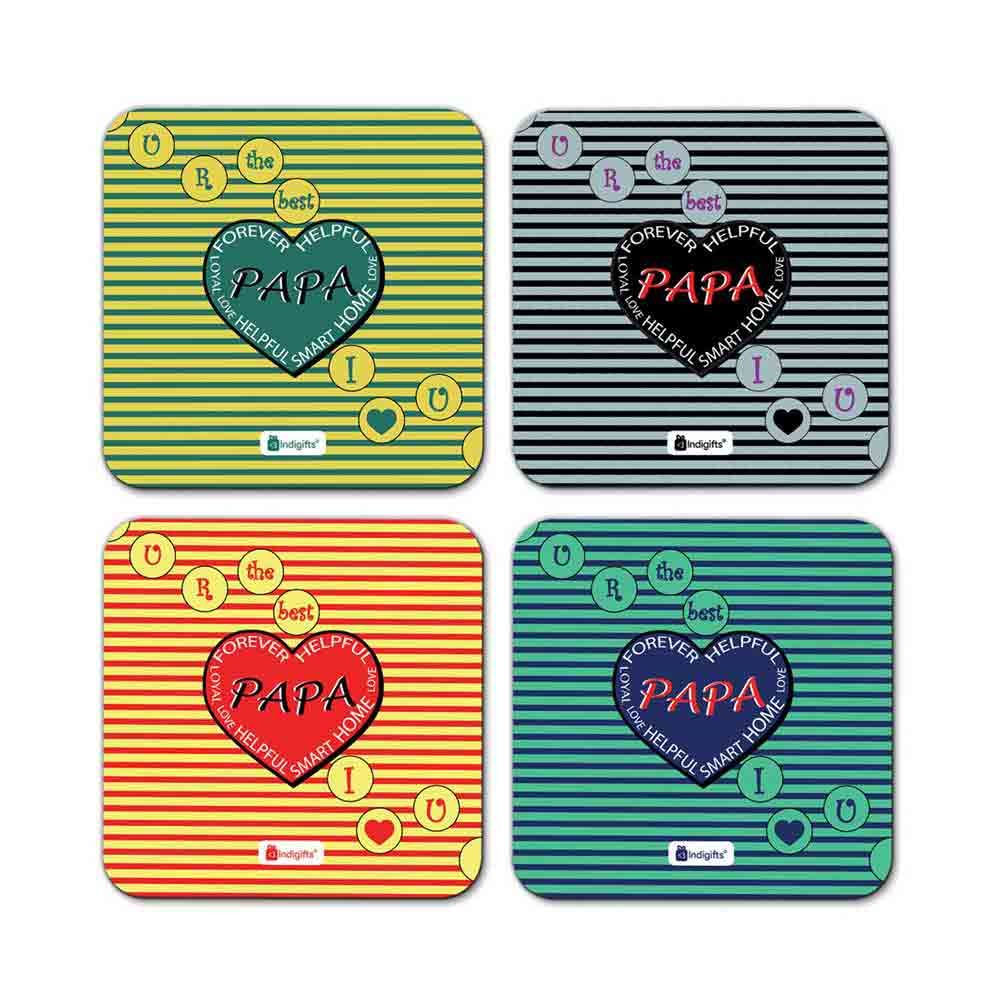 Indigifts Best Papa I Love You Quote Polka dots on line seamless pattern Multicolor Coasters