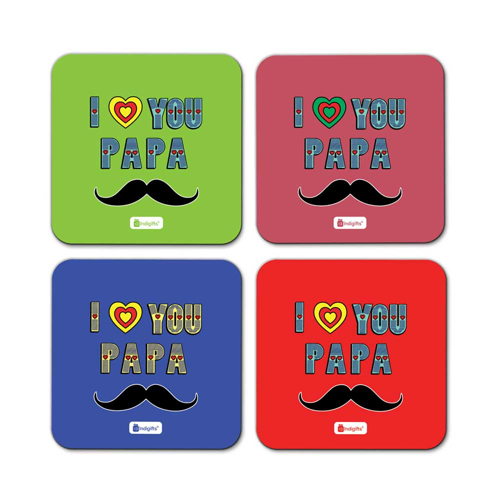 Indigifts I Love You Papa Quote Designer Typography Print Multicolor Coasters